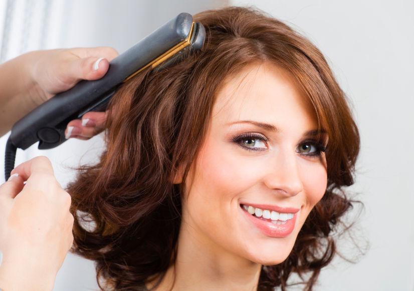 Укладка волос утюжком фото