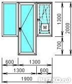 """Окно пластиковое """"classic"""", балконный блок, махагон в пятиго."""